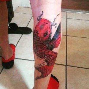 leg koi fish tattoo design